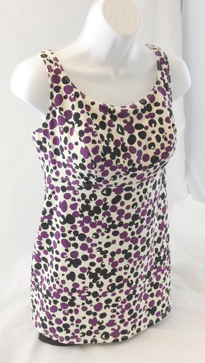 Pink Promises Anita Purple Dot Tankini Top MAL4-6586 Size 22